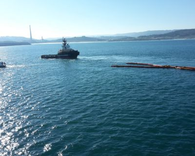 Simulacro no Porto Exterior da Corunha testou a operacionalidade do sistema Aquasafe Galiza